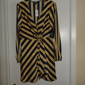 Express Size L Striped Long Sleeve Tie-Front Dress